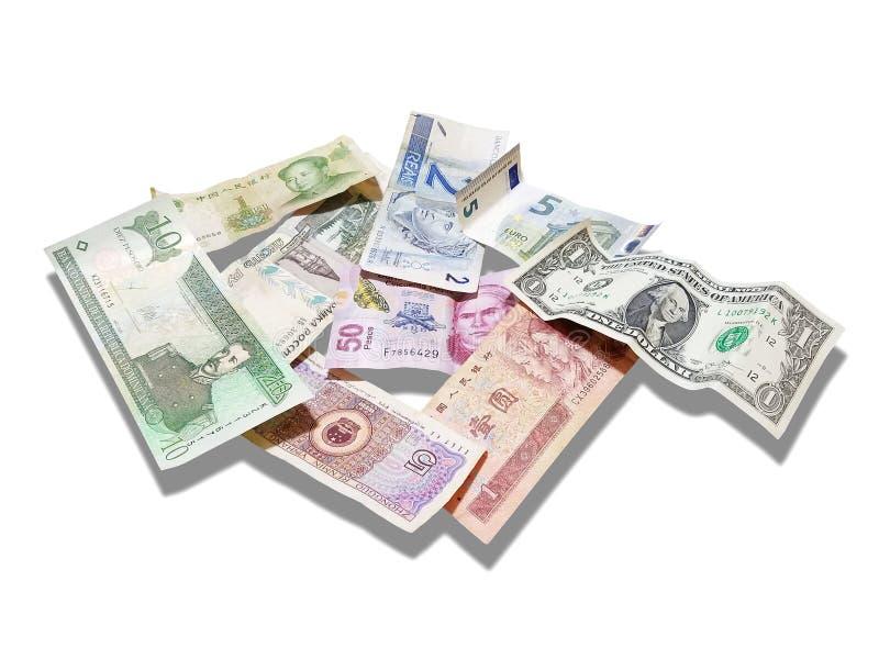 Dollaro, euro, Rube, yuan, reale, pesi, su bianco fotografia stock libera da diritti
