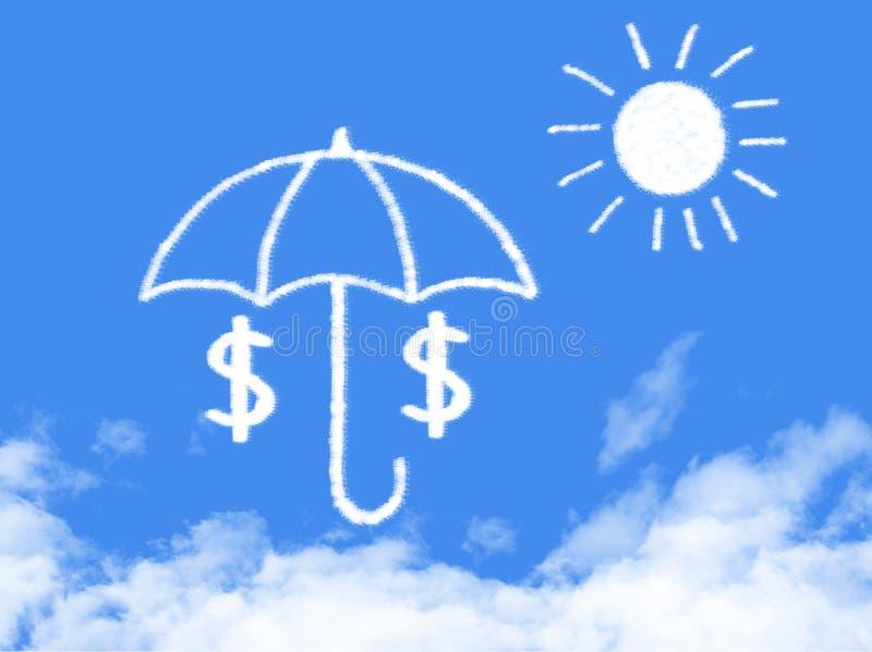 Dollaro nell'ambito della forma della nuvola dell'ombrello illustrazione di stock