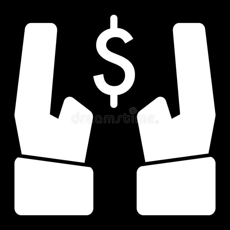 Dollaro nell'icona di vettore delle mani Illustrazione in bianco e nero dei soldi Icona lineare solida di attività bancarie illustrazione vettoriale