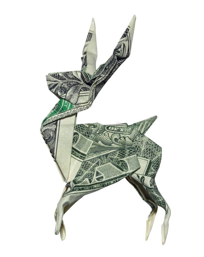Dollaro reale Bill Stag Isolated dei CERVI di origami dei soldi un su fondo bianco fotografia stock libera da diritti