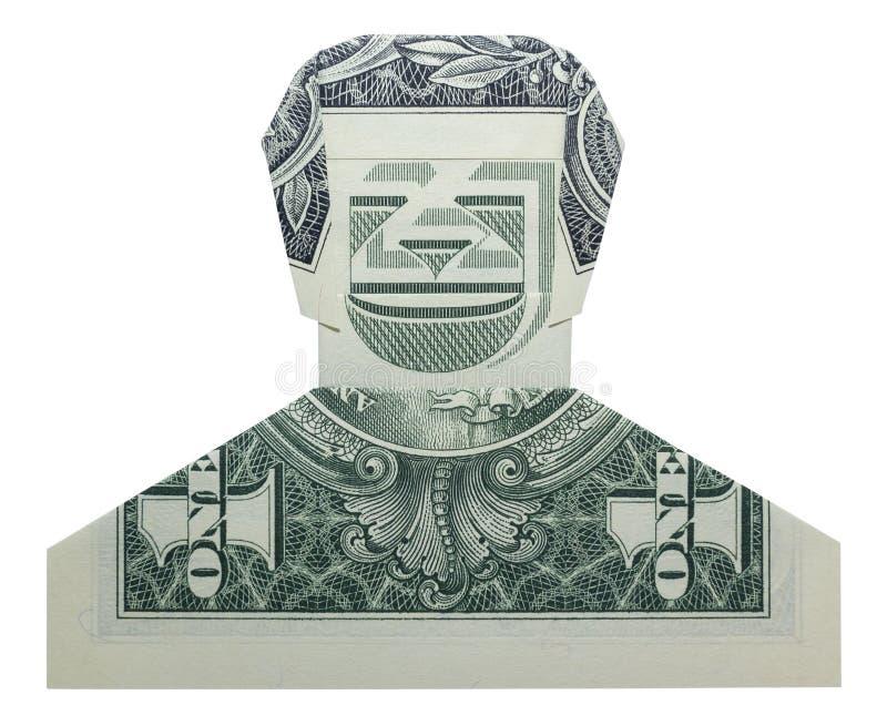 Dollaro sorridente Bill Isolated di DUDE Man Face Real One di origami dei soldi su fondo bianco immagini stock