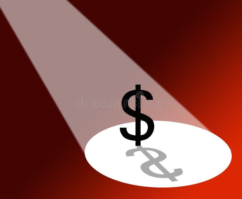 Dollaro sotto il riflettore illustrazione vettoriale