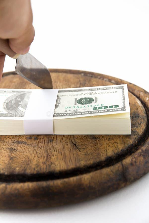 Dollaro sul blocchetto di spezzettamento immagine stock