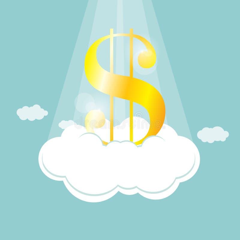 Dollaro sulla nube illustrazione vettoriale