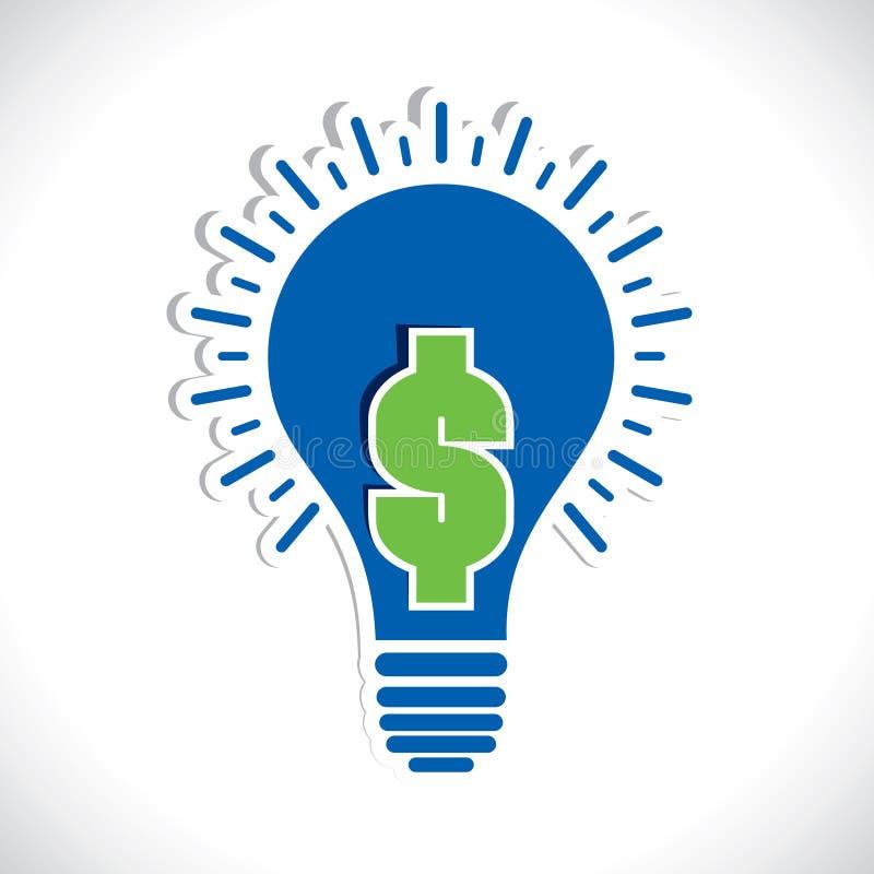 Dollaro verde in lampadina royalty illustrazione gratis
