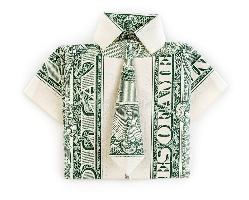 Dollarorigamihemd und -bindung lokalisiert lizenzfreie stockfotos
