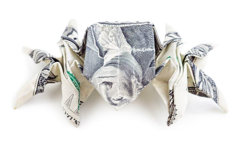 Dollarorigamispinne lokalisiert stockfoto