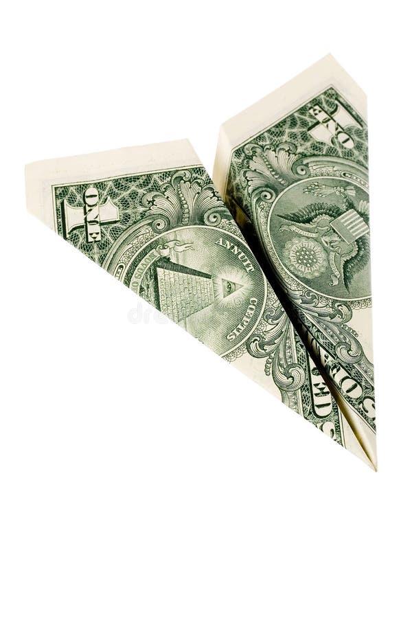 Dollarpapierflugzeug stockbild