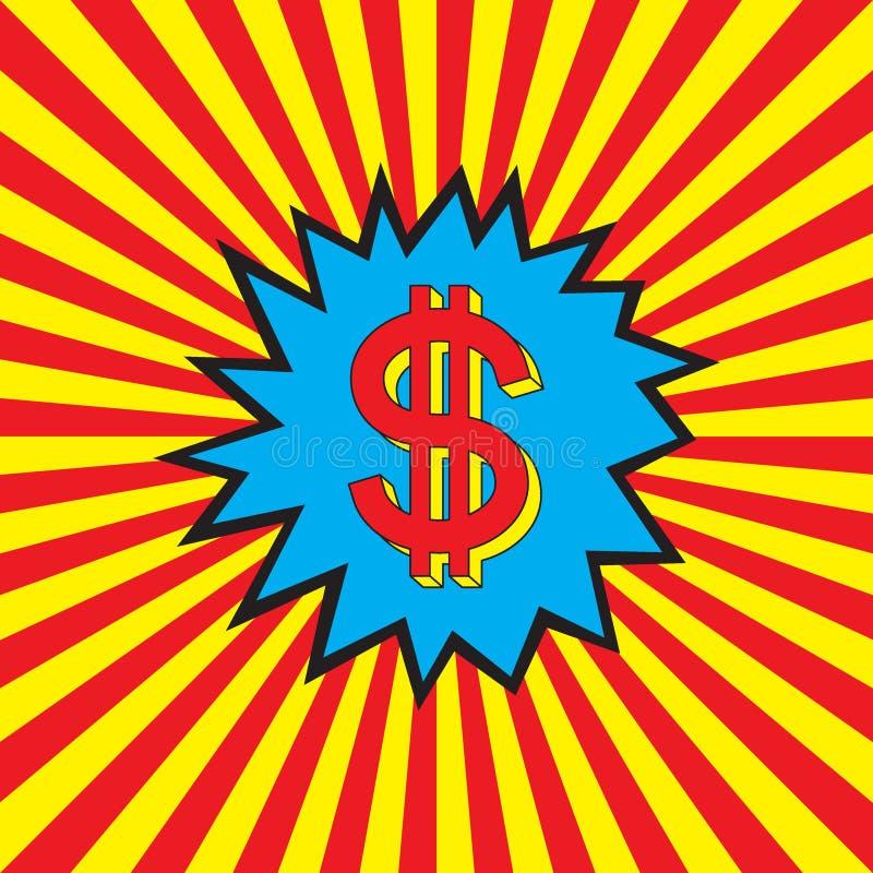 Dollarpictogram in de pop-artexplosie vector illustratie