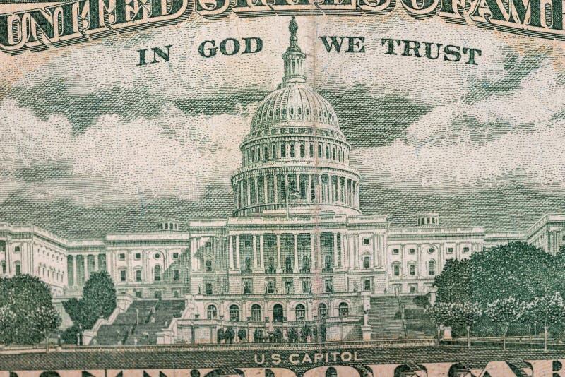 Dollarräkning för USA femtio, tillbaka sida fotografering för bildbyråer