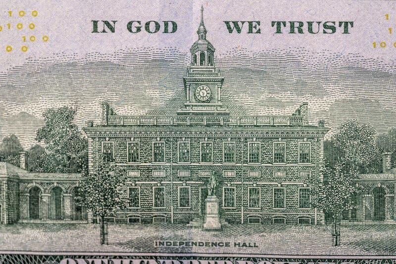 Dollarräkning för USA 100, tillbaka sida royaltyfria foton