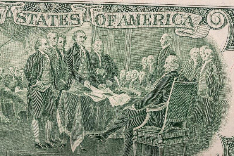 Dollarräkning för USA två arkivfoto