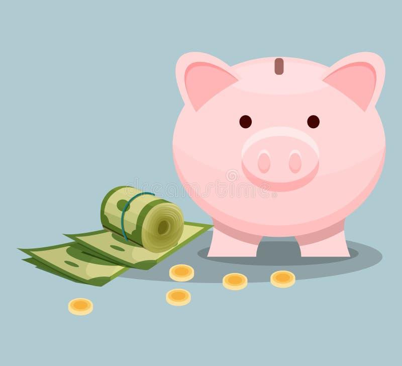 Dollarräkningar, guld- mynt och rosa spargris bondsräknemaskinen kan ändra pengar för inskrifter för kuvert för underhållning för stock illustrationer