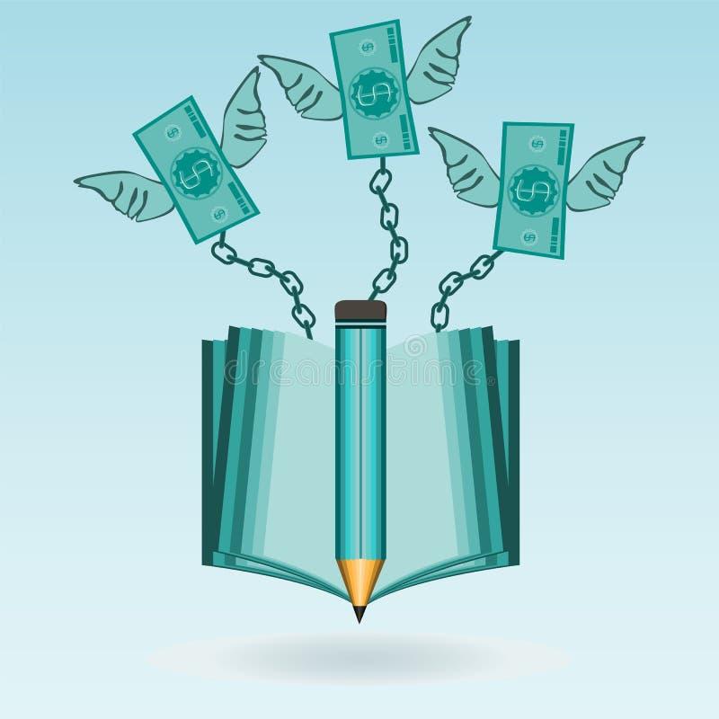 Dollarräkningar med vingar som kedjas fast till en öppen bok vektor illustrationer