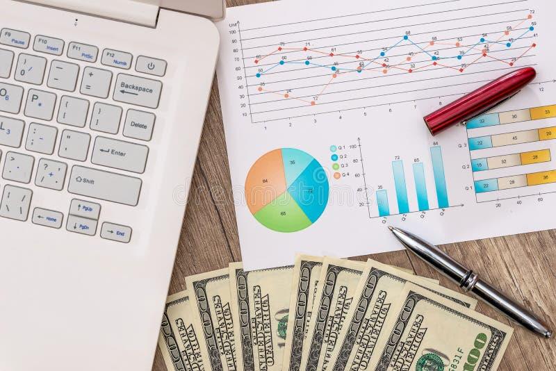 Dollarräkningar på en tabell med grafdiagrammet och bärbara datorn, penna arkivbild