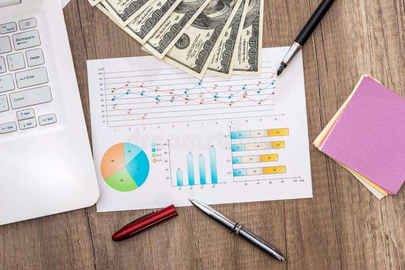 Dollarräkningar på en tabell med grafdiagrammet och bärbara datorn, penna arkivfoton