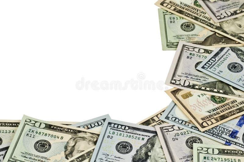 Dollarräkningar som isoleras på vit bakgrund arkivbild