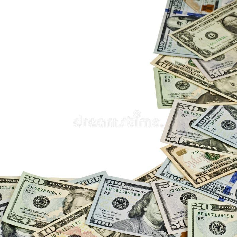 Dollarräkningar som isoleras på vit bakgrund royaltyfri fotografi