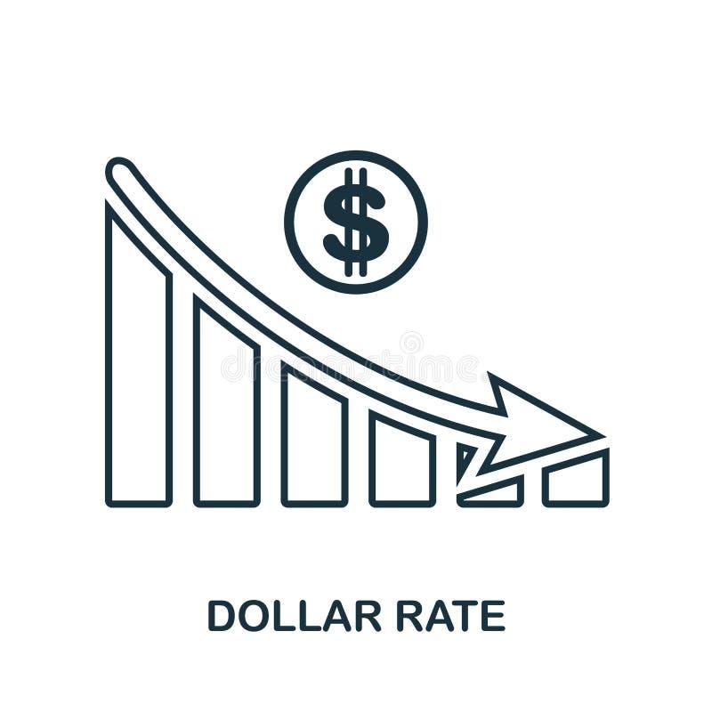 DollarRate Decrease Graphic symbol Mobil app, printing, webbplatssymbol Enkel beståndsdelallsång Monokrom dollar Rate Decrease Gr stock illustrationer