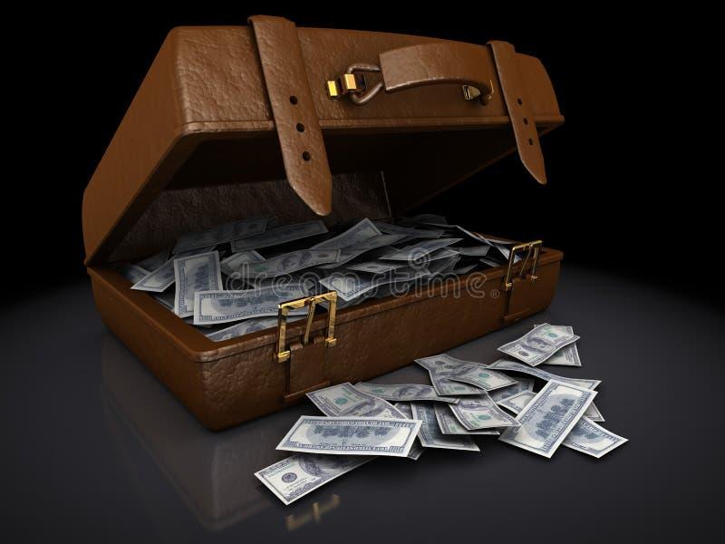 Dollarrekeningen in een bruine koffer vector illustratie