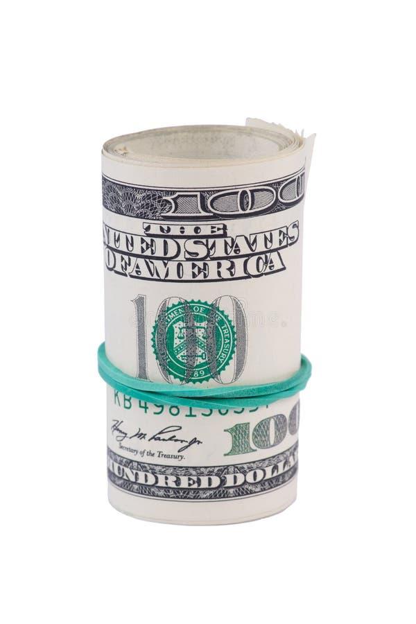 Dollarrolle festgezogen mit grünem Gummiband stockfoto