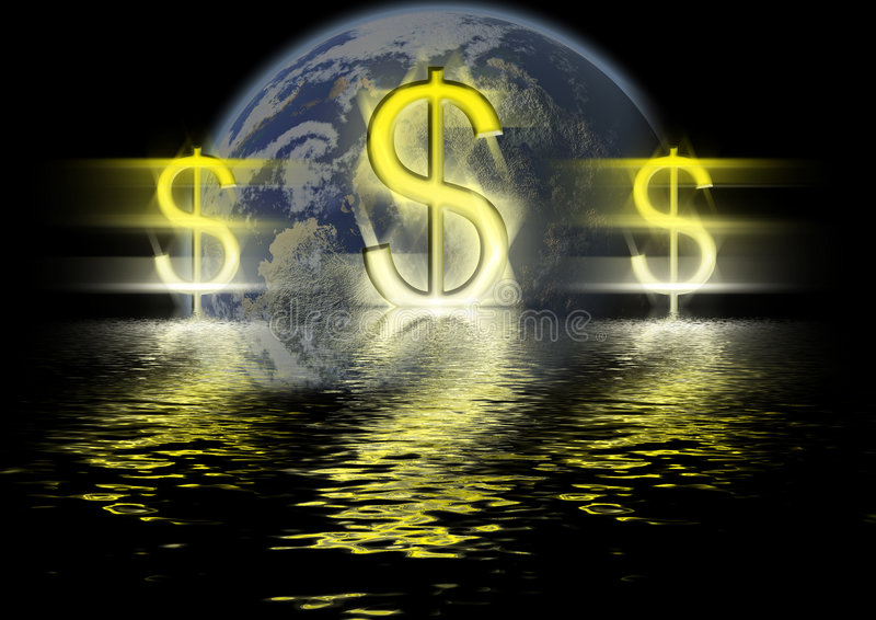 Dollars. Three marks of dollar on a background of a planet. Yellow and black colors vector illustration