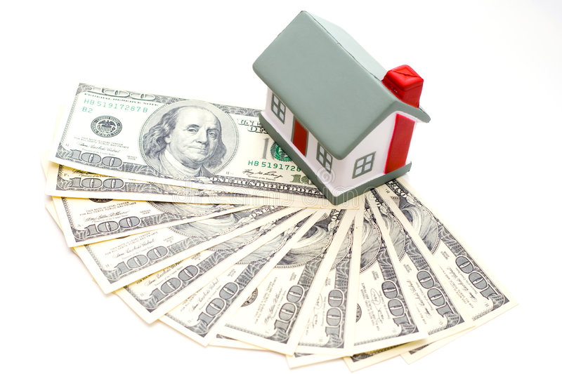 Dollars. House with dollar bills background royalty free stock photos