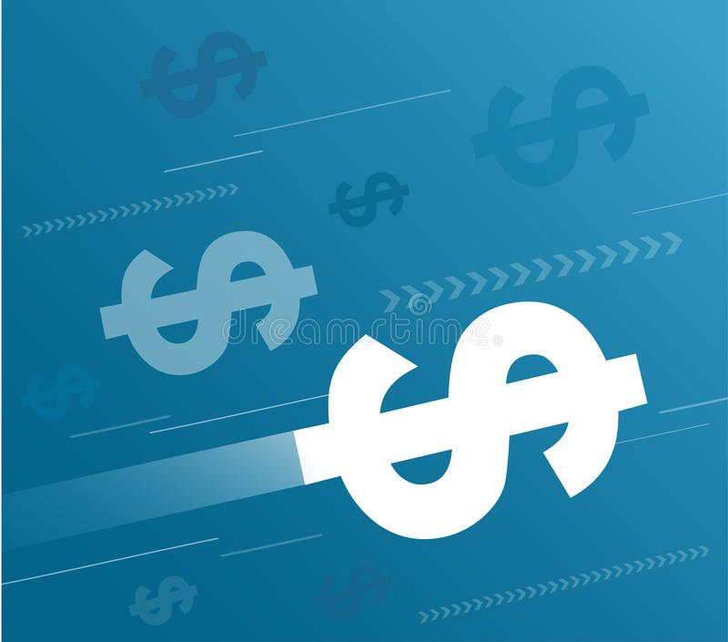 Dollars abstraits et vecteur bleu de fond illustration libre de droits