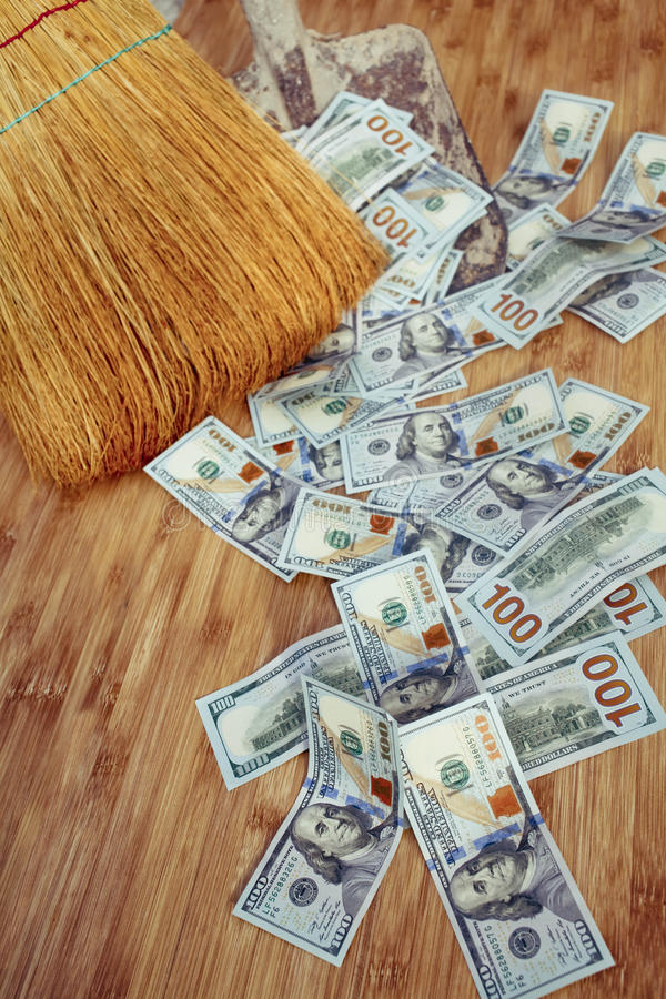 Free Dollars And Broom On Wooden Floor, Closeup Royalty Free Stock Photography - 62550737