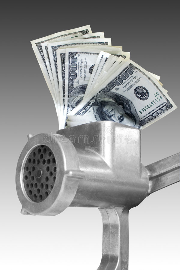Free Dollars Are Milled In A Meat Grinder Royalty Free Stock Image - 8227046