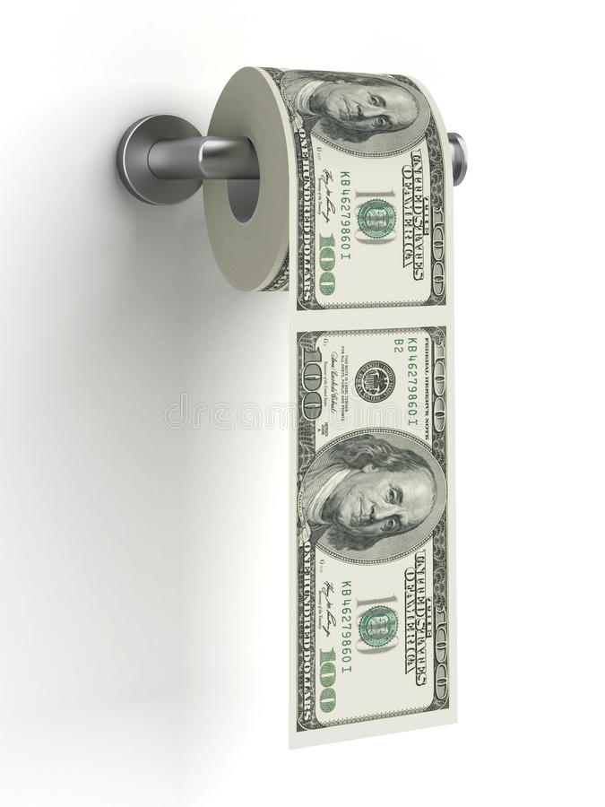 Dollars as toilet paper royalty free stock photography