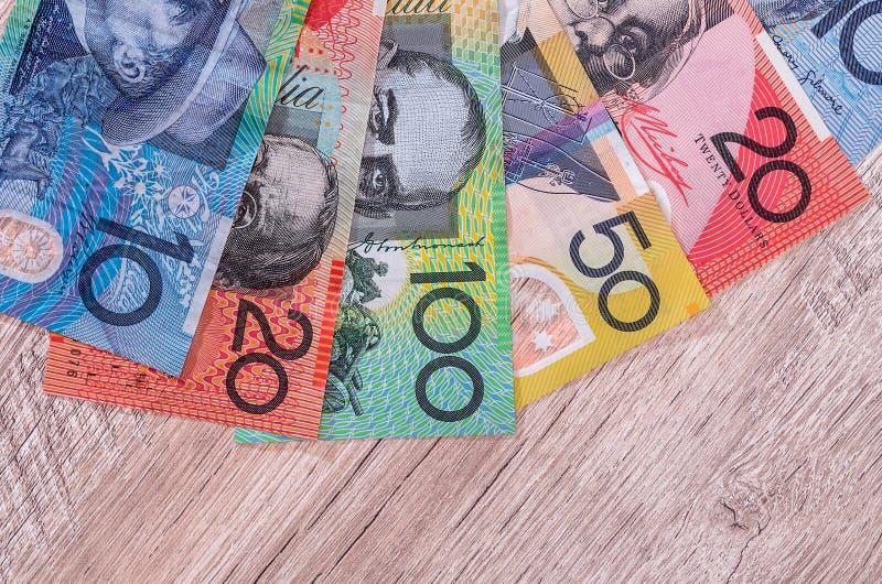 Dollars australiens dans la fan image stock
