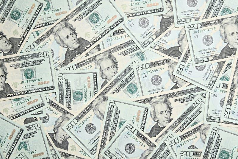 Dollars. Background from ocean of twenty dollars royalty free stock photos