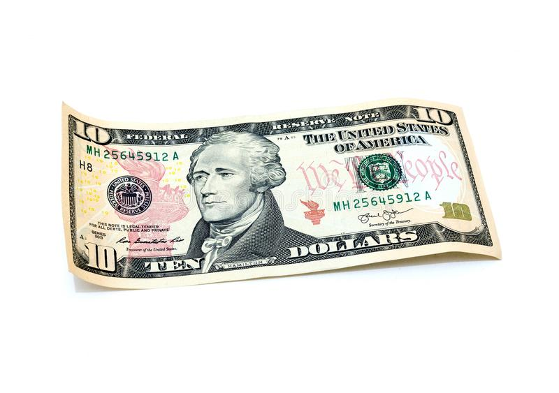 10 dollars banknote stock images