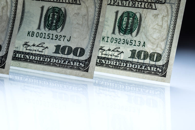 Dollars banknotes. American Dollars Cash Money. One Hundred Dollar Banknotes.  royalty free stock images