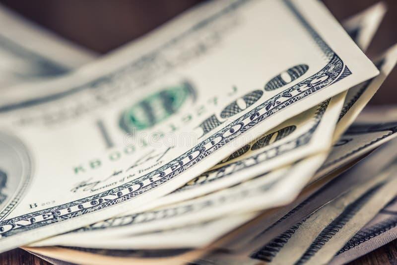 Dollars banknotes closeup. Cash Money American Dollars.Close-up view of stack of US dollars royalty free stock photo