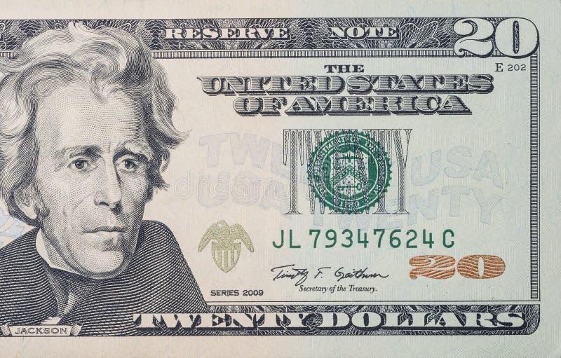 20 dollars bill. Macro shot of 20 US dollars bill royalty free stock image