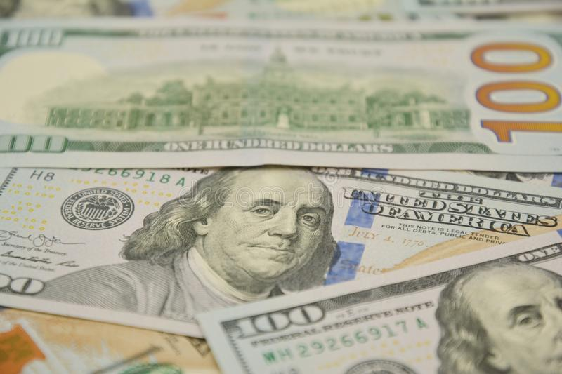 100 Dollars bill and portrait Benjamin Franklin on USA money banknote. One Hundred Dollar Banknotes stock photography