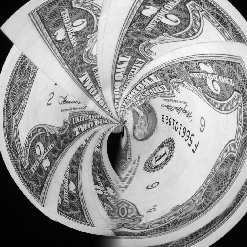 2 dollars Bill Swirl images libres de droits