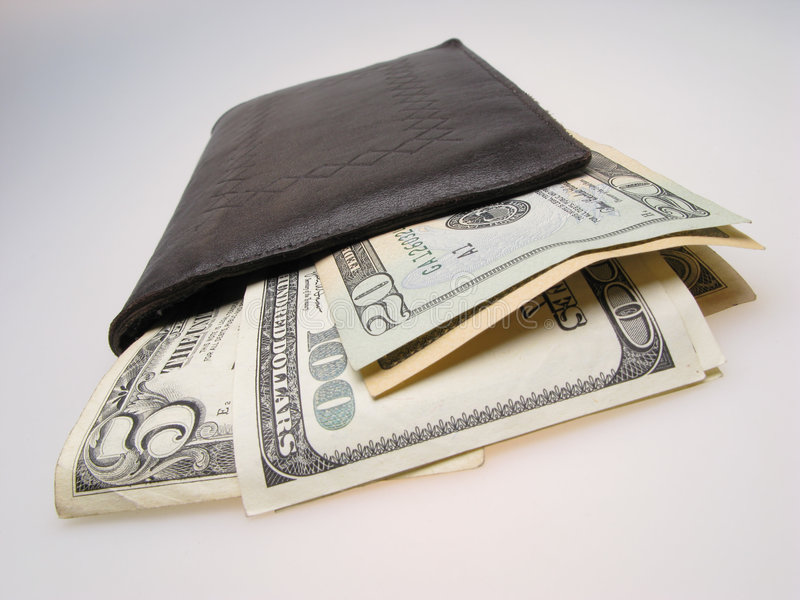 Dollars in billfold. Many dollars in billfold, closeup royalty free stock images