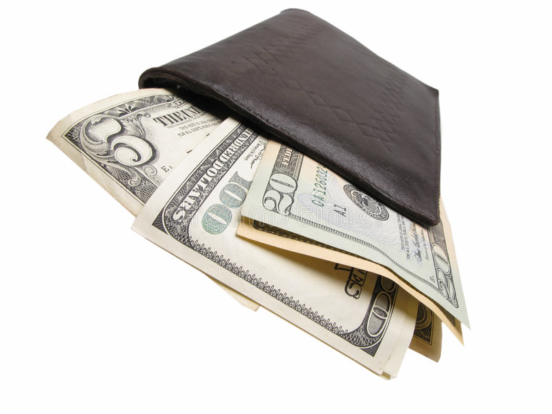 Dollars in billfold. Many dollars in billfold, closeup stock images