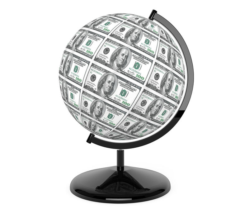 Dollars Bills as globe