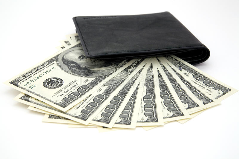 Dollars and black purse