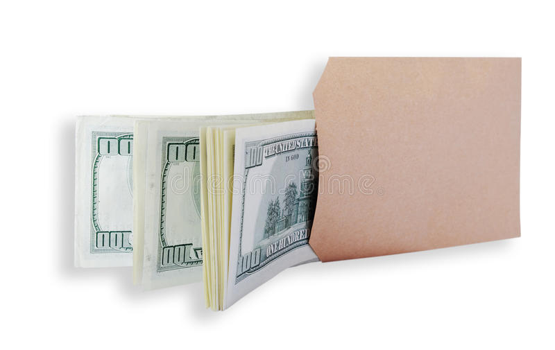 Dollars in the brown bag. stock photo