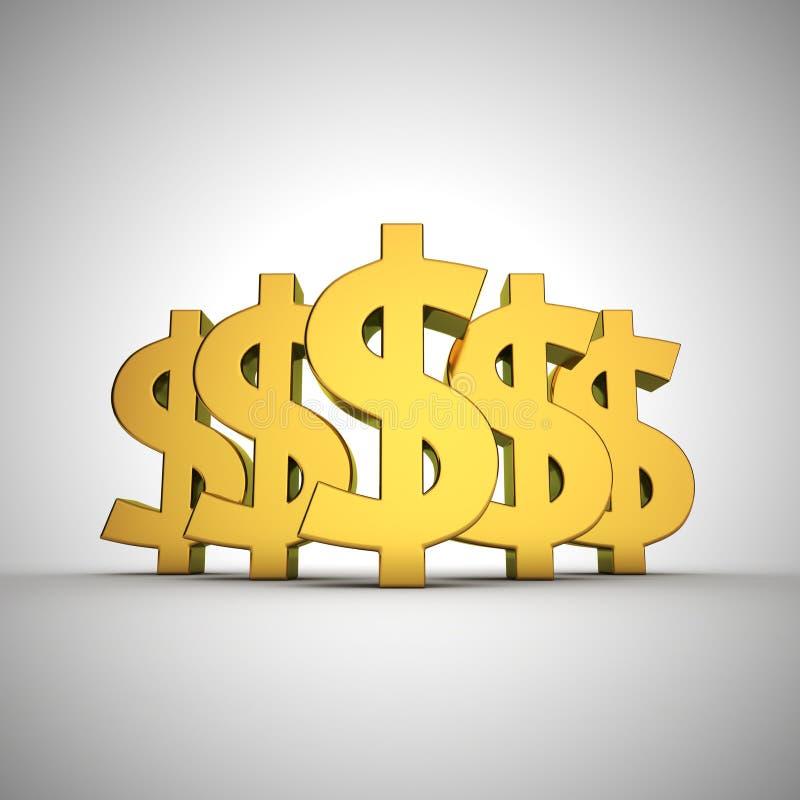 Dollars bulge. Five dollar signs arrangement in bulge stock illustration