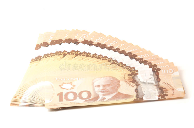 100 dollars Canadian bank notes royalty free stock photos