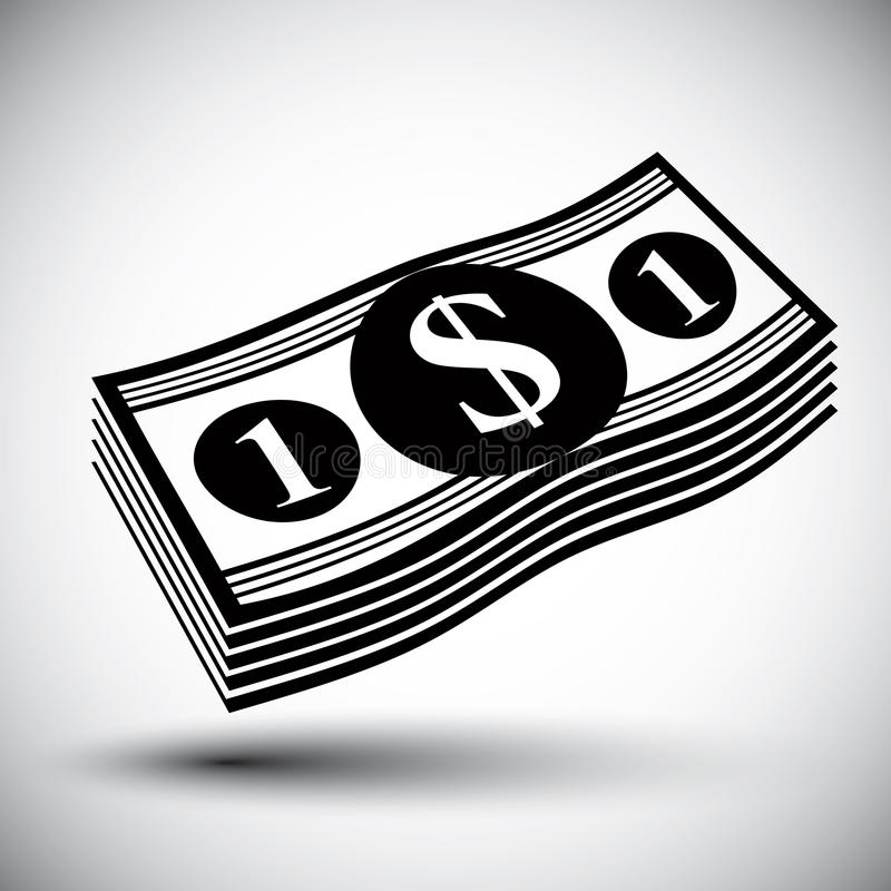 Dollars cash money stack vector simple single color icon. royalty free illustration