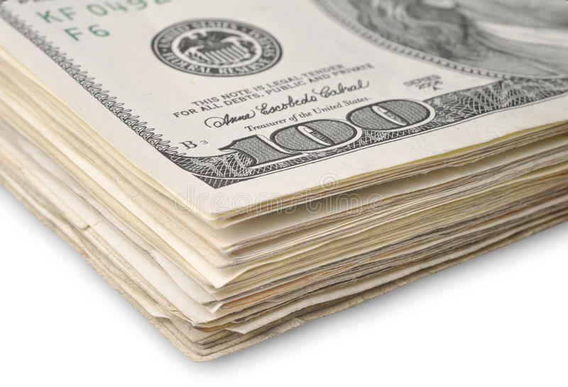 Dollars. Close up pack of dollars stock images