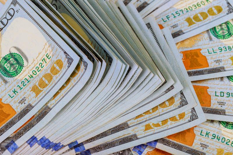 Dollars Closeup Concept. American Dollars Cash Money. One Hundred Dollar Banknotes. royalty free stock photography