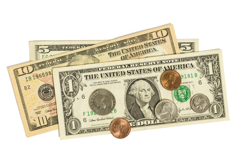 Dollars & Coins. A one, five, and a ten dollar bill with coins stock photos